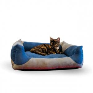 "K&H Pet Products Classy Lounger Pet Bed Medium Gray / Blue 20"" x 25"""