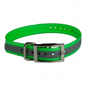 """The Buzzard's Roost Reflective Collar Strap 1"""" Green 1"""" x 24"""""""