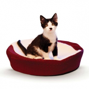 """K&H Pet Products Ultra Memory Round Pet Cuddle Nest Red 19"""" x 19"""" x 3"""""""
