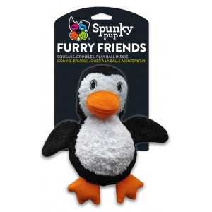 Spunky Pup Furry Friends Penguin with Ball Squeaker