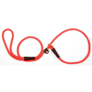 "Mendota British Style Small Slip Lead Rope: Leash and Collar in One, Red, 3/8"" x 4'"
