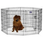 "Midwest Homes for Pets Black E-Coat Pet Exercise Pen with Walk-Thru Door: 48"" x 24"""